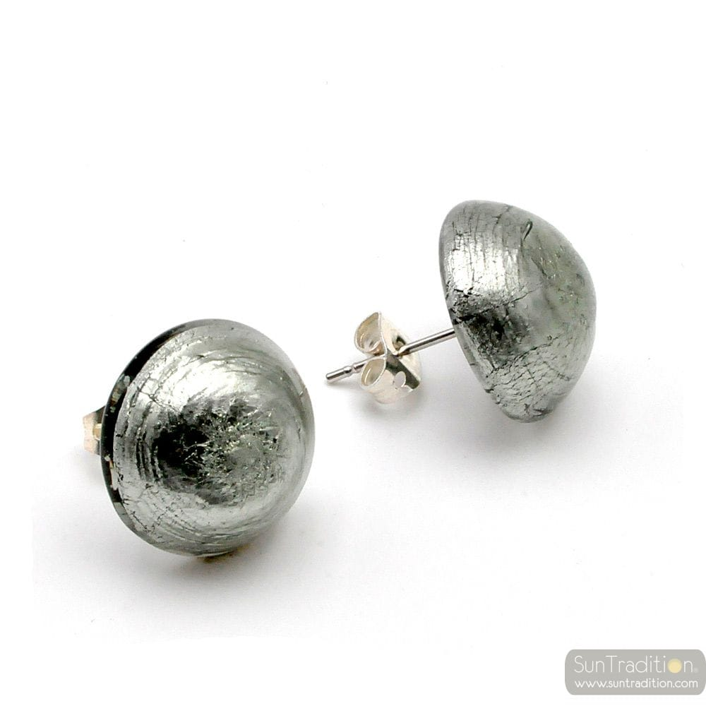 SILVER EARRINGS BUTTONS - SILVER EARRINGS JEWELRY GENUINE MURANO GLASS