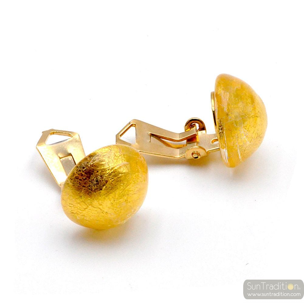 GOLD EARRINGS BUTTONS - GOLD EARRINGS JEWELRY GENUINE MURANO GLASS