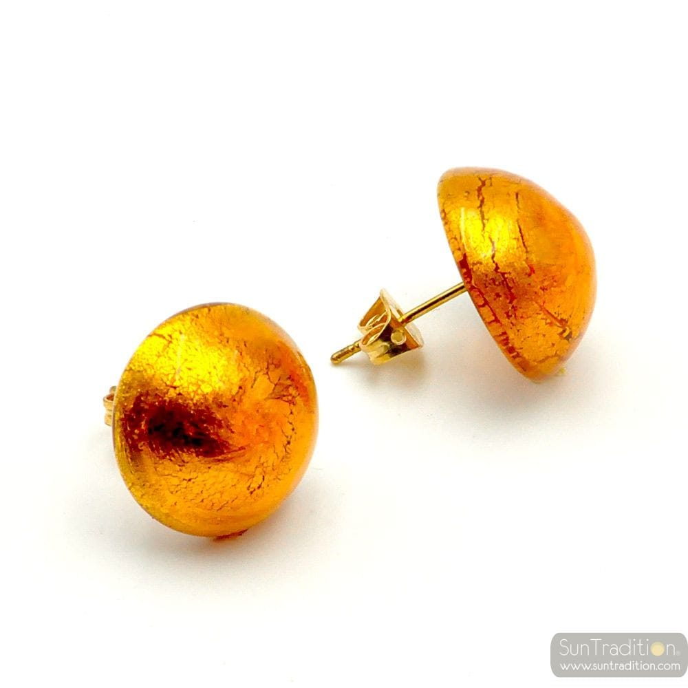 AMBER EARRINGS BUTTONS - AMBER EARRINGS JEWELRY GENUINE MURANO GLASS VENITIAN