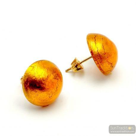 AMBER EARRINGS BUTTONS - AMBER EARRINGS JEWELRY GENUINE MURANO GLASS VENITIAN