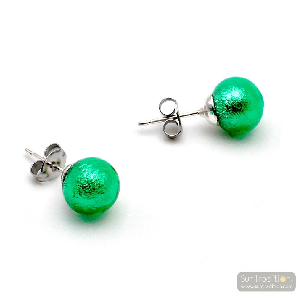 GREEN EARRINGS STUDS - ROUND BUTTON NAIL EARRINGS GENUINE MURANO GLASS OF VENICE