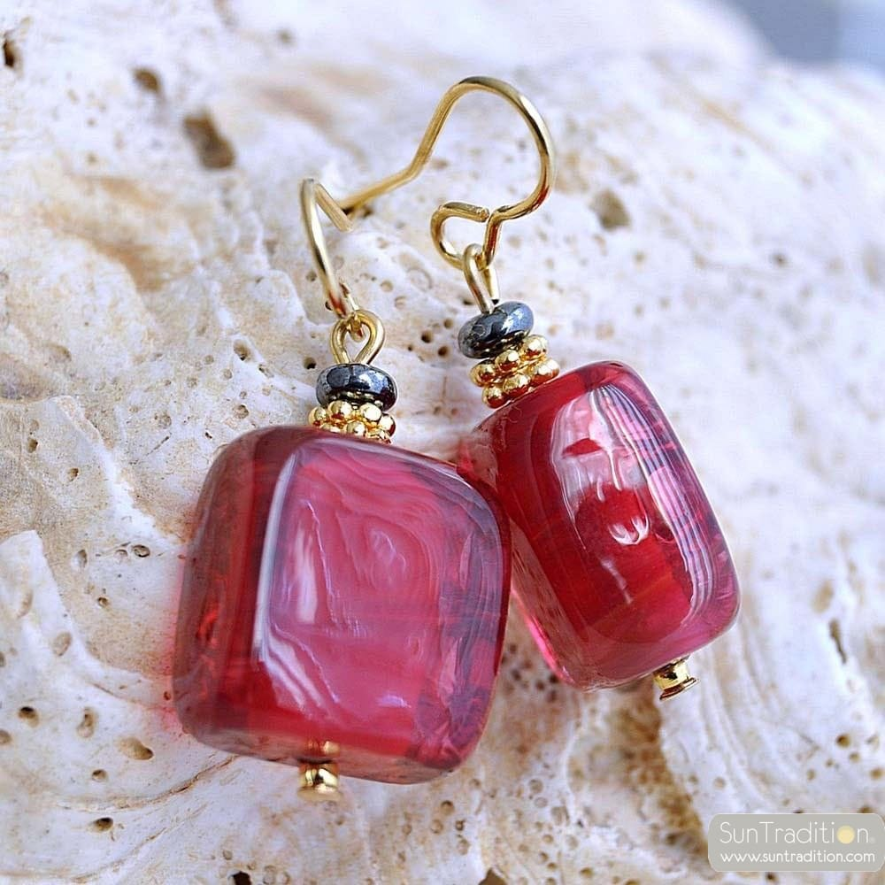 SCHISSA RED EARRINGS GENUINE MURANO GLASS