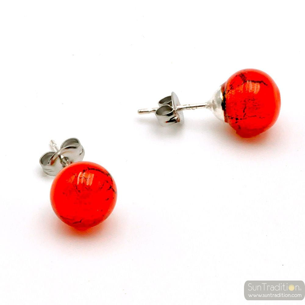 RED ORANGE STUDS - EARRINGS ROUND BUTTON NAIL GENUINE MURANO GLASS OF VENICE