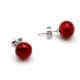 DARK RED EARRINGS STUDS - ROUND BUTTON NAIL EARRINGS GENUINE MURANO GLASS OF VENICE