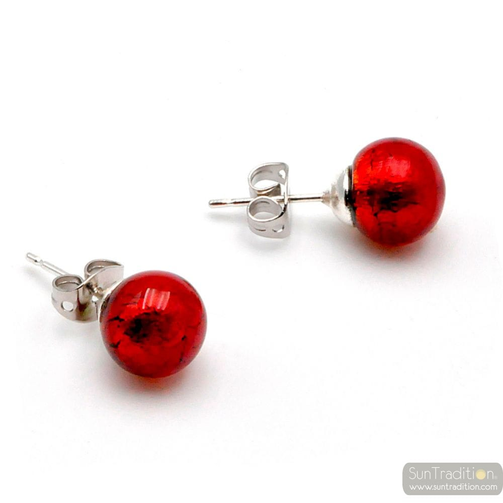 RED EARRINGS STUDS - ROUND BUTTON NAIL EARRINGS GENUINE MURANO GLASS OF VENICE