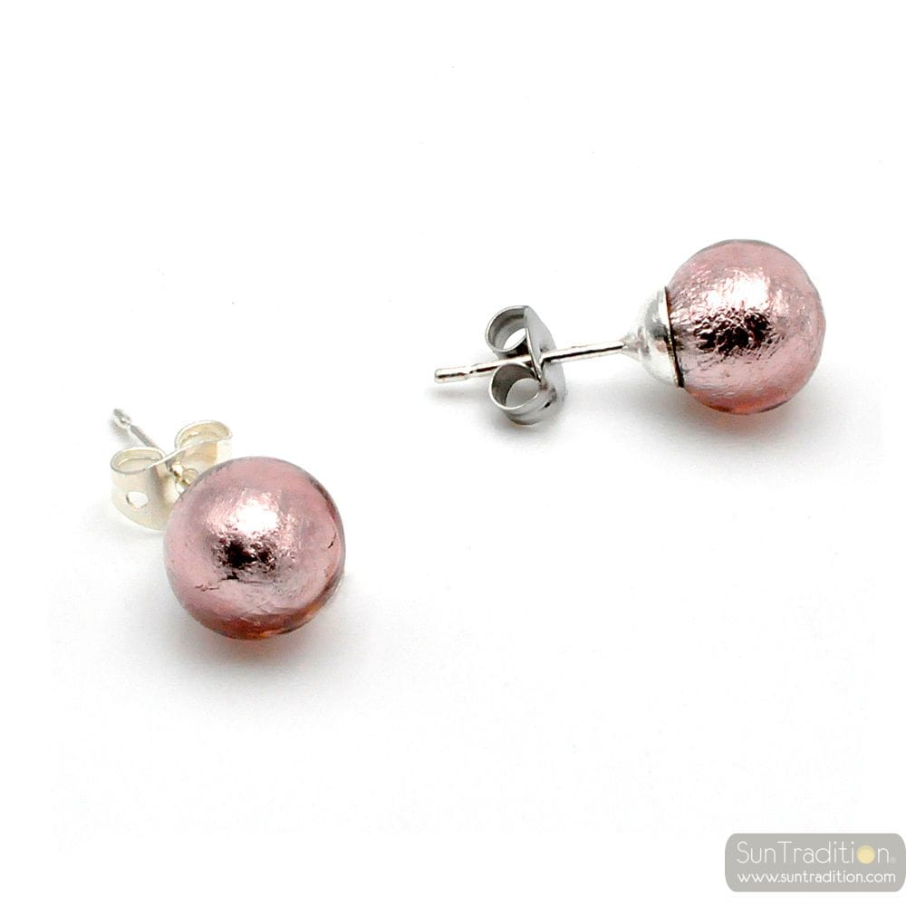 PARMA EARRINGS STUDS - ROUND BUTTON NAIL EARRINGS GENUINE MURANO GLASS OF VENICE