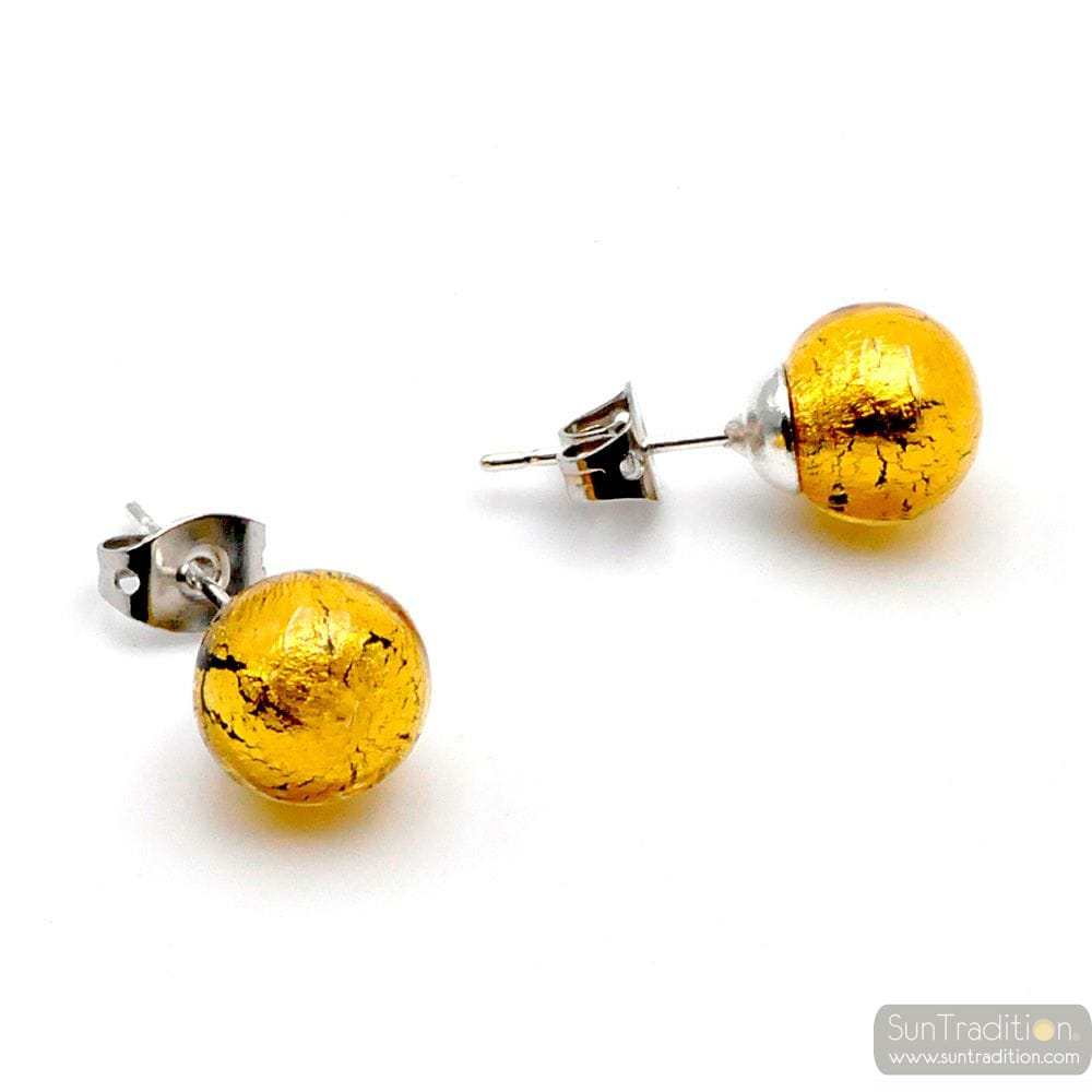 GOLD EARRINGS STUDS - ROUND BUTTON NAIL EARRINGS GENUINE MURANO GLASS OF VENICE