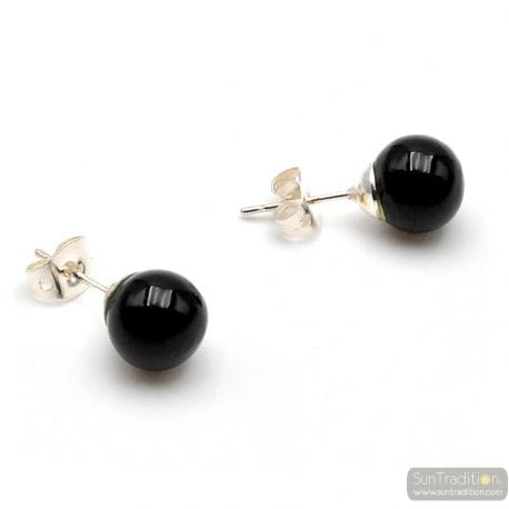 BLACK MURANO GLASS STUDS - EARRINGS ROUND BUTTON NAIL GENUINE MURANO GLASS OF VENICE