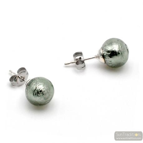 GRAY MURANO GLAS STUDS - EARRINGS ROUND BUTTON NAIL GENUINE MURANO GLASS OF VENICE