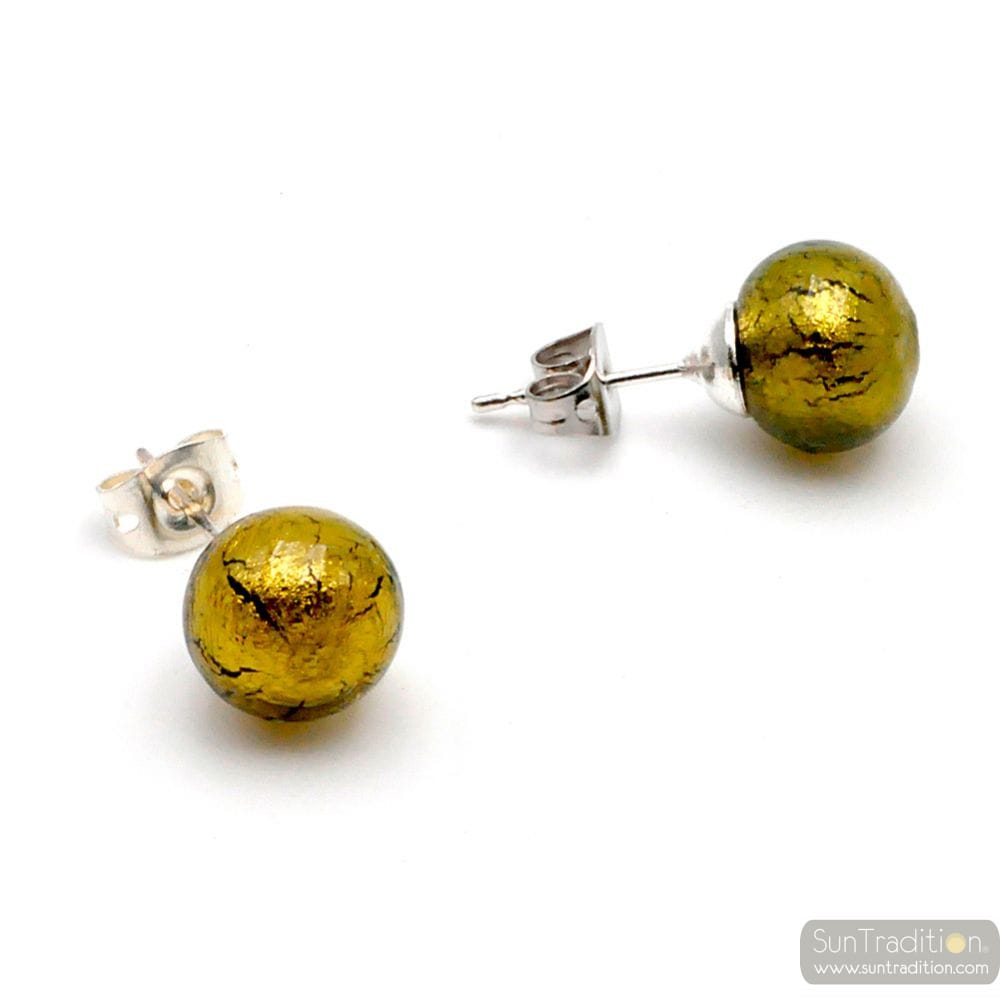 GOLDEN DARK GREEN CRYSTAL STUDS - EARRINGS ROUND BUTTON NAIL GENUINE MURANO GLASS OF VENICE