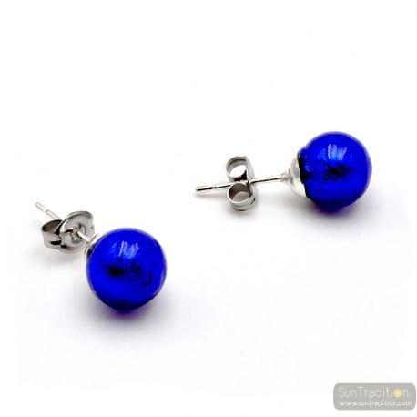 COBALT BLUE STUDS - EARRINGS ROUND BUTTON NAIL GENUINE MURANO GLASS OF VENICE