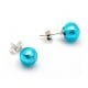AZURE BLUE STUDS - EARRINGS ROUND BUTTON NAIL GENUINE MURANO GLASS OF VENICE