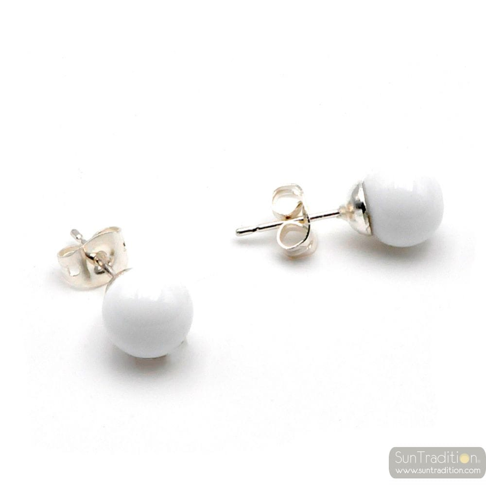 WHITE MURANO STUDS - WHITE ROUND BUTTON NAIL MURANO GLASS EARRINGS