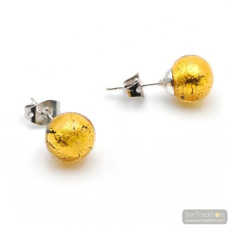 GOLD CRYSTAL STUDS - EARRINGS ROUND BUTTON NAIL GENUINE MURANO GLASS OF VENICE