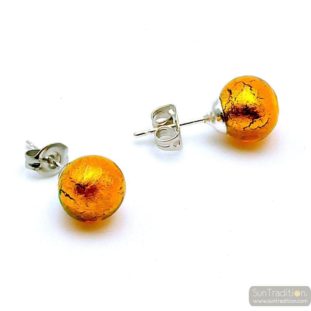 AMBER EARRINGS STUDS - ROUND BUTTON NAIL GENUINE MURANO GLASS OF VENICE