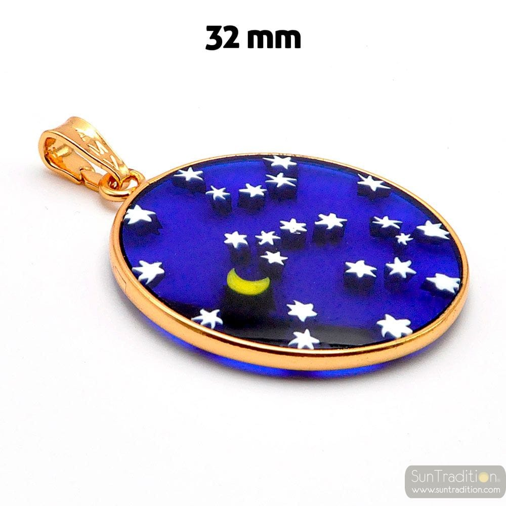 GOLD PENDANT MURANO GLASS MILLEFIORI STARRY SKY BLUE