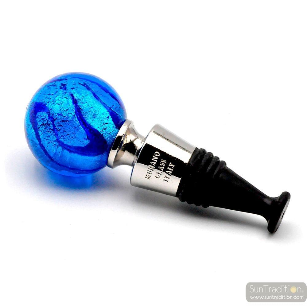BLUE MURANO GLASS WINE BOTTLE STOPPER