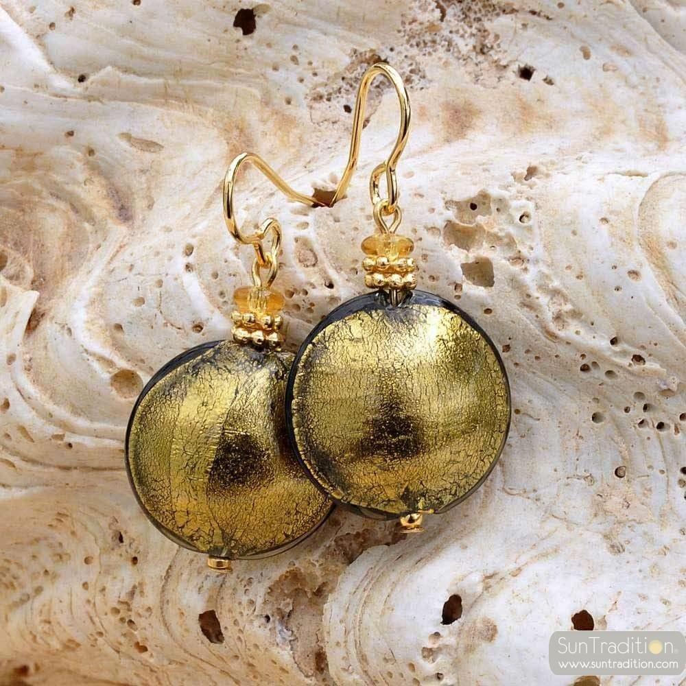 PASTIGLIA GRAU GOLD - OHRRINGE GRAU GOLD SCHMUCK AUS ECHTEM MURANOGLAS AUS VENEDIG