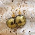 PASTIGLIA GOLD GREY EARRINGS MURANO GLASS REAL VENICE