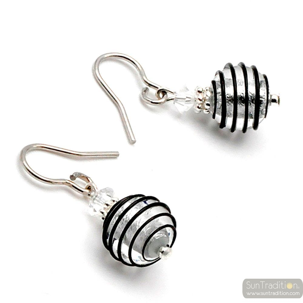 JOJO BLACK AND SILVER MINI - BLACK AND SILVER MURANO GLASS EARRINGS GENUINE GLASS VENICE