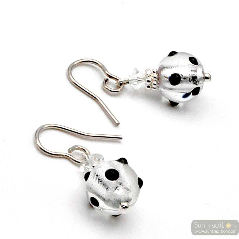 JOJO BLACK AND SILVER MINI POLKA - BLACK AND SILVER MURANO GLASS EARRINGS GENUINE VENICE GLASS