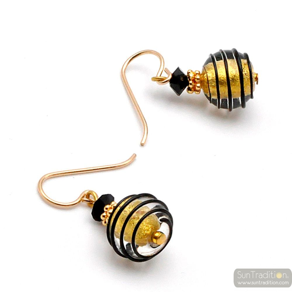 BLACK AND GOLD MURANO GLASS EARRINGS GENUINE GLASS VENICE