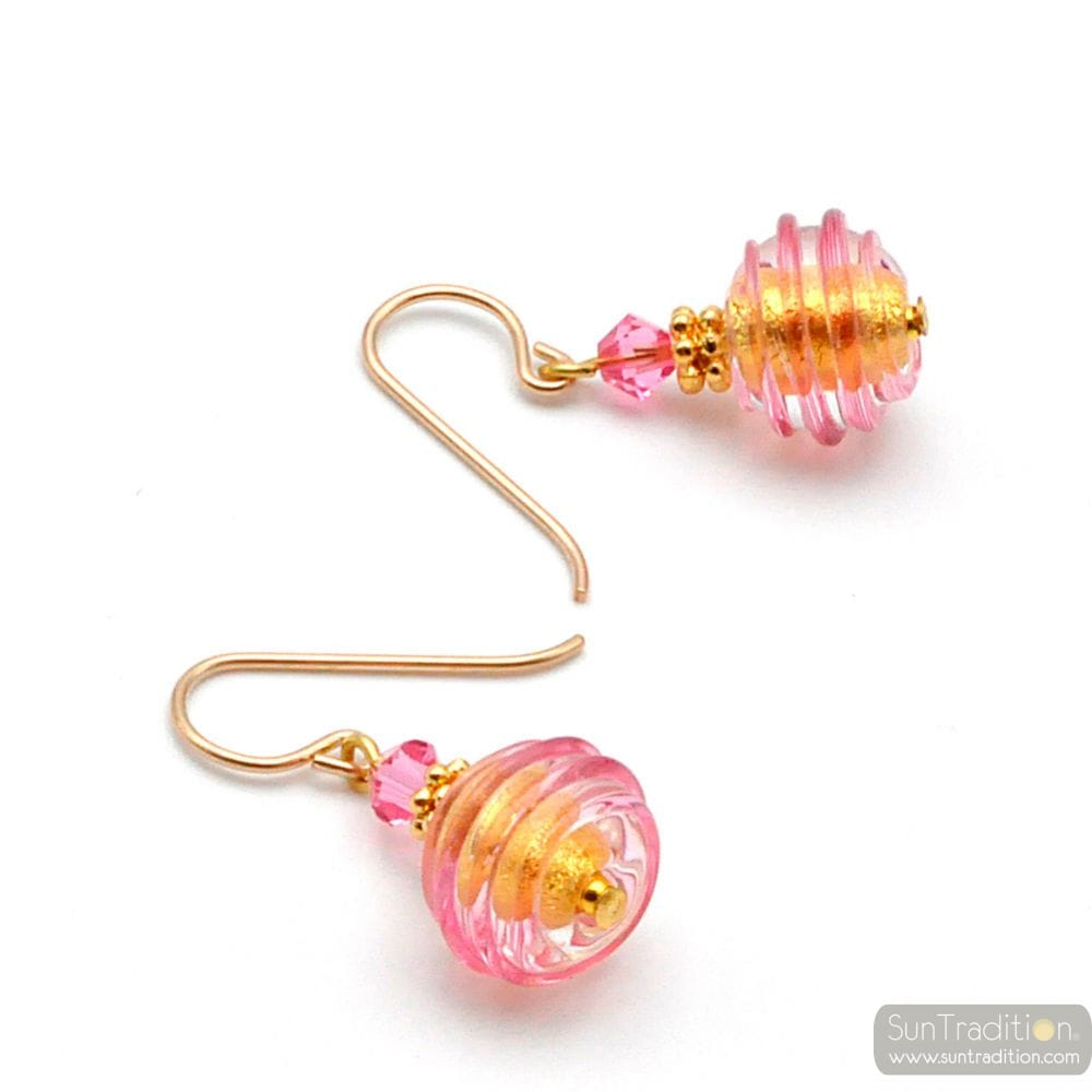PINK AND GOLD MURANO GLASS EARRINGS GENUINE VENICE GLASS