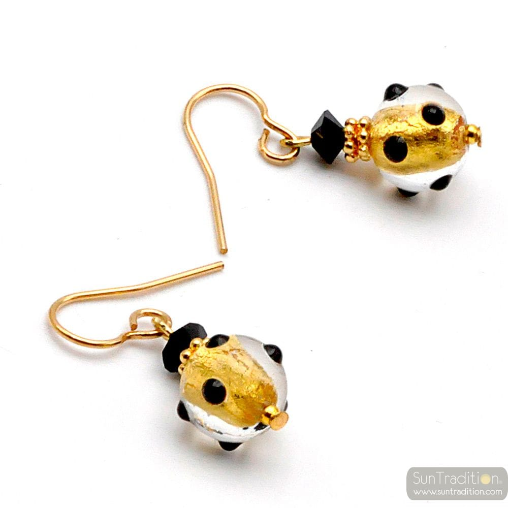 BLACK AND GOLD MURANO GLASS EARRINGS GENUINE VENITIAN GLASS