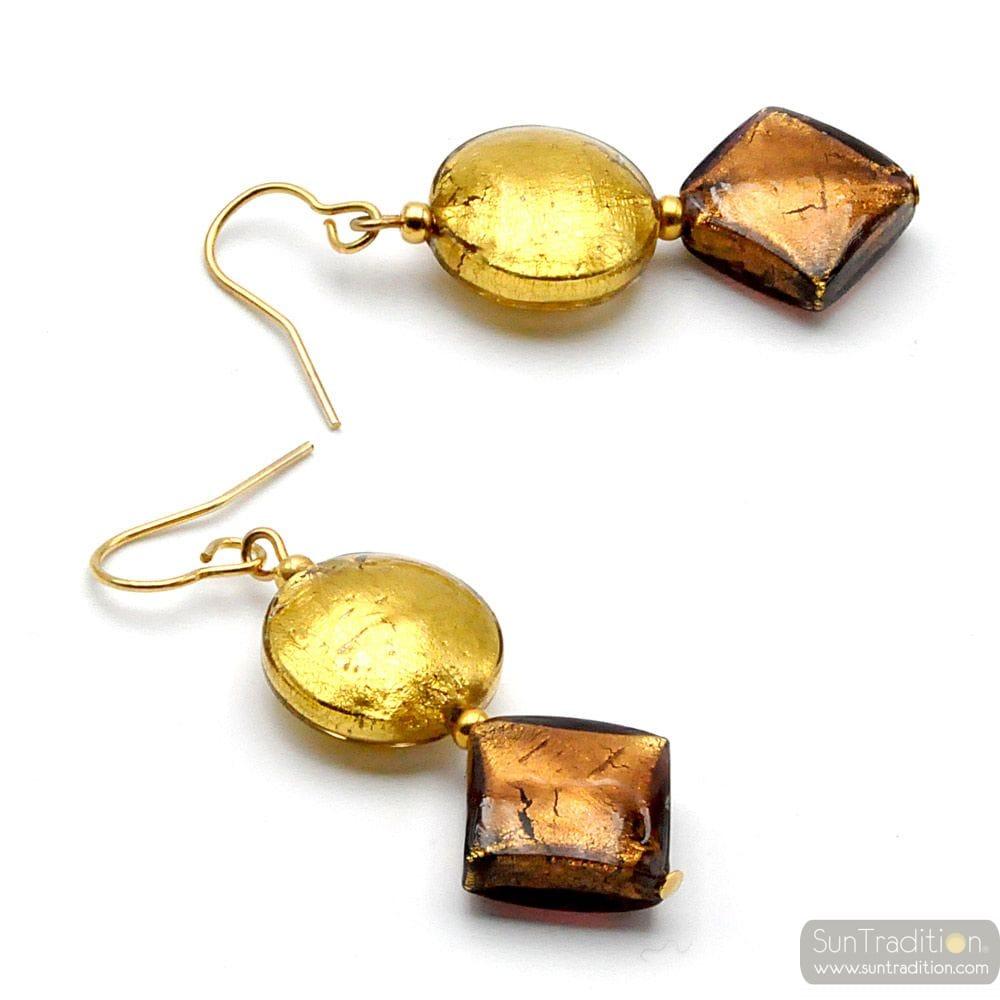 BROWN AND GOLD MURANO GLASS DROP EARRINGS GENUINE MURANO GLASS
