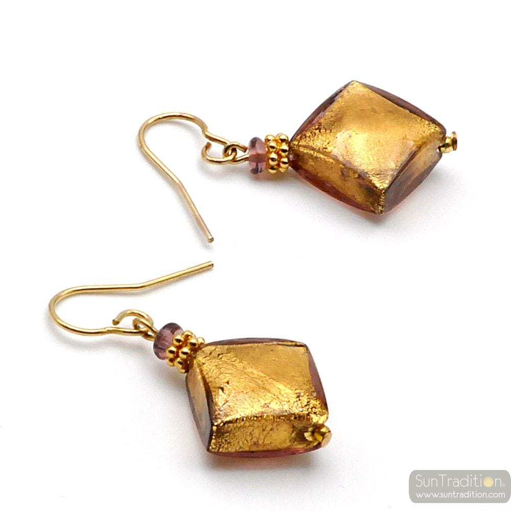 BUTTERFLY GOLD - GOLD MURANO GLASS EARRINGS GENUINE MURANO GLASS
