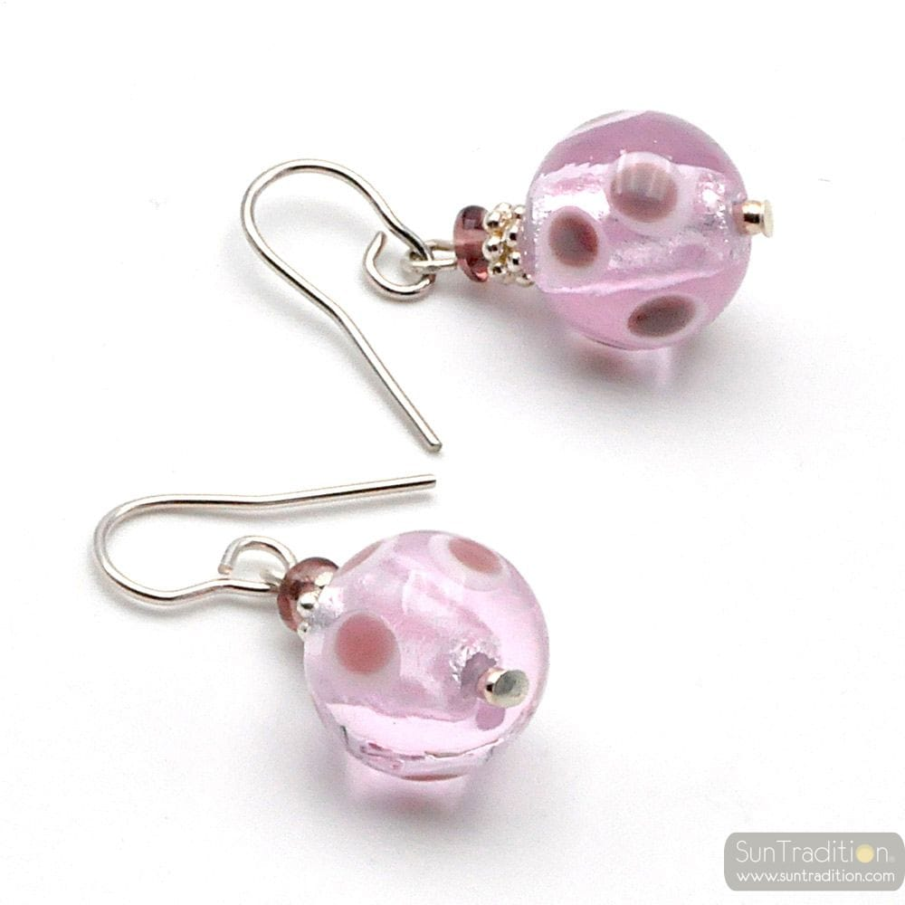 GALAXY LILAC - LILAC MURANO GLASS EARRINGS GENUINE GLASS VENICE