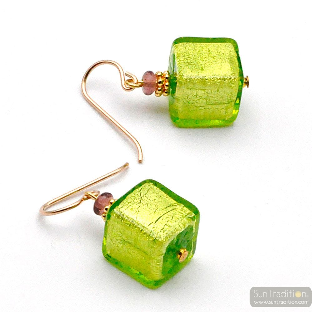 AMERICA GREEN LIME - GREEN AND GOLD EARRINGS GENUINE MURANO GLASS VENICE