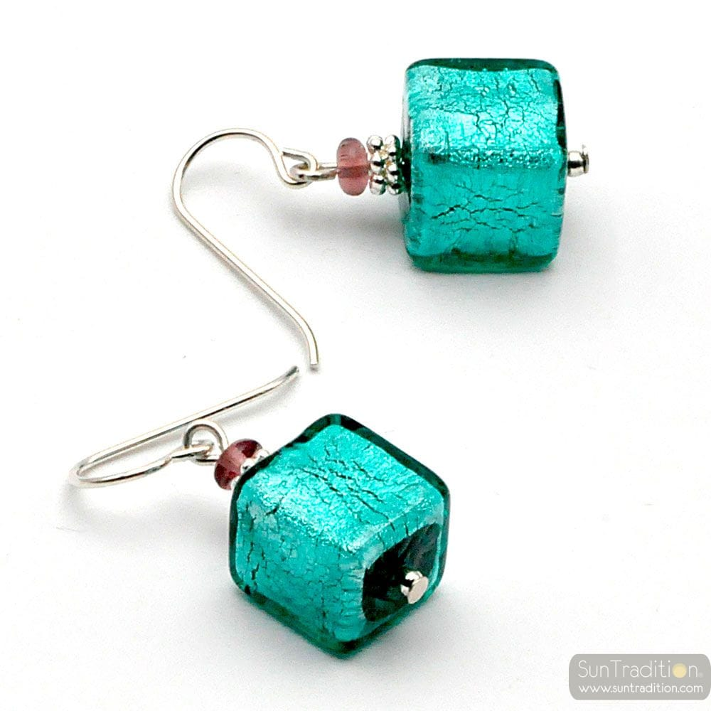 SILVER EARRINGS GENUINE MURANO GLASS VENICE