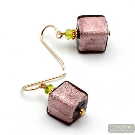 PARMA AND GOLD EARRINGS GENUINE MURANO GLASS VENICE