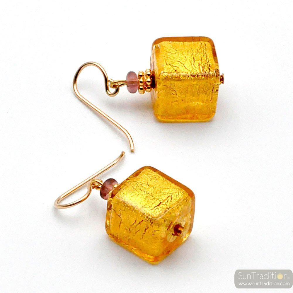 GOLD EARRINGS GENUINE MURANO GLASS OF VENICE