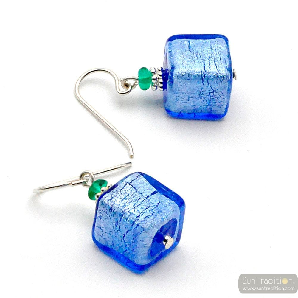 BLUE SILVER EARRING REAL GLASS MURANO VENICE