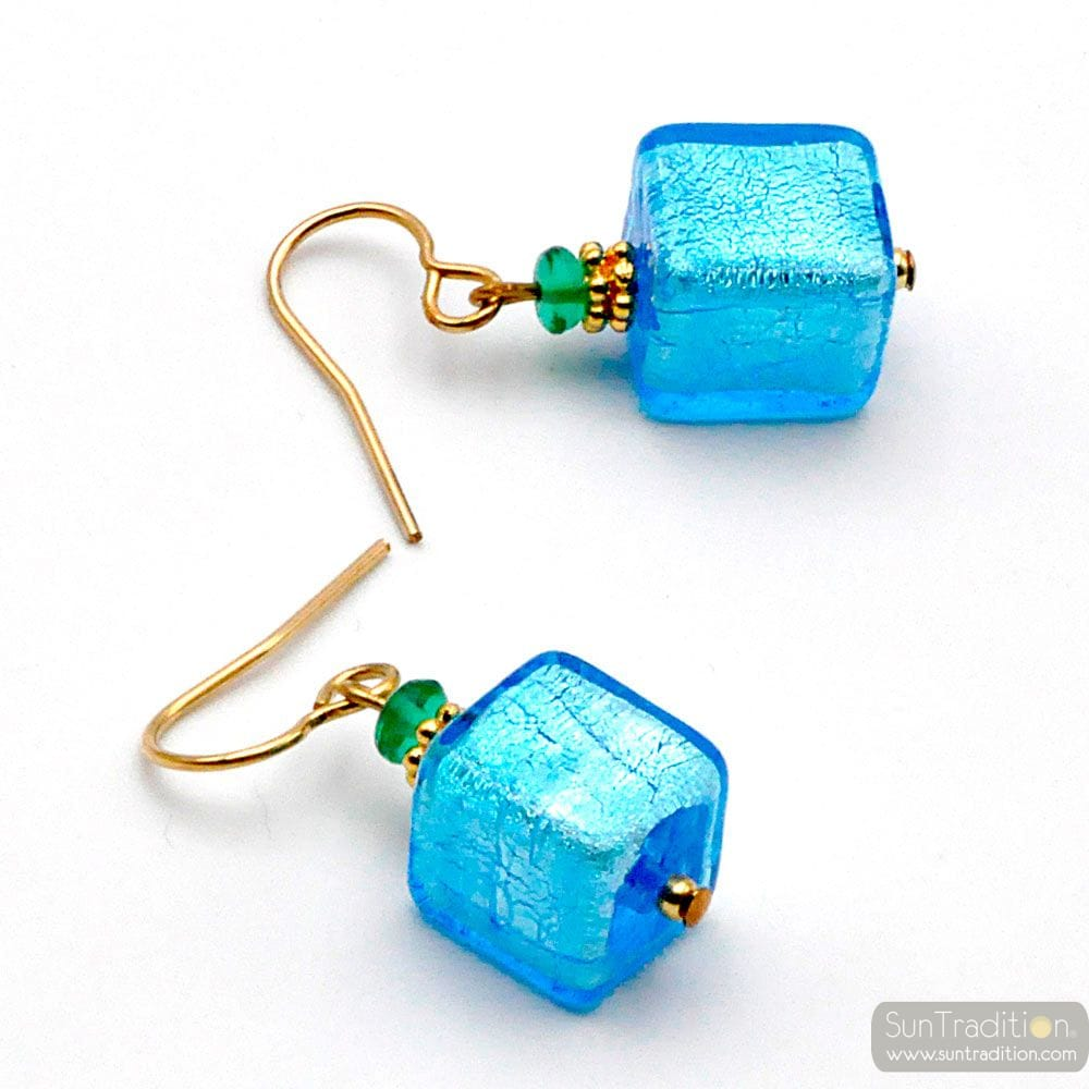 AMERICA BLUE - BLUE GOLD EARRINGS GENUINE MURANO GLASS VENICE