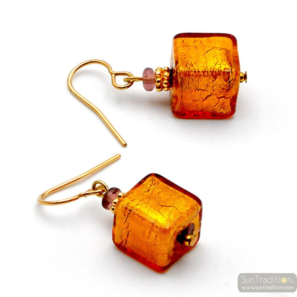 AMERICA AMBER - AMBER AND GOLD EARRINGS GENUINE MURANO GLASS OF VENICE