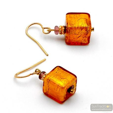 AMBER AND GOLD EARRINGS GENUINE MURANO GLASS OF VENICE