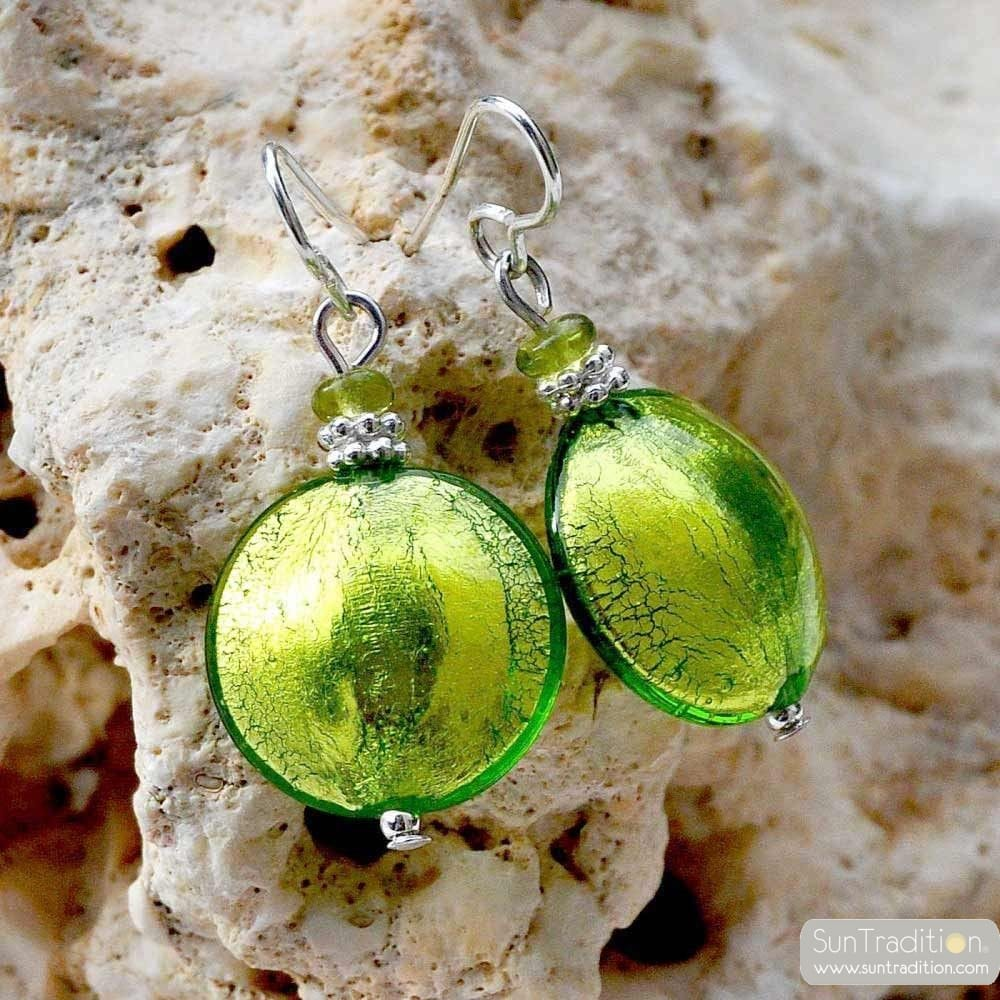 PASTIGLIA GREEN - GREEN EARRINGS GENUINE MURANO GLASS VENICE