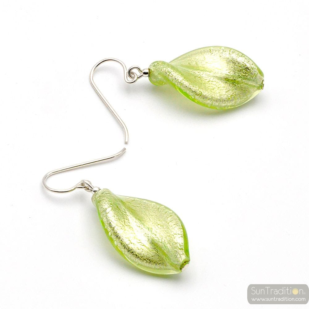 CHLOROPHYLL GREEN - GREEN MURANO GLASS DROP EARRINGS GENUINE MURANO GLASS