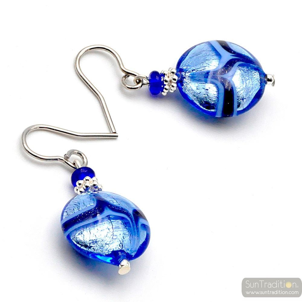 PASTIGLIA AVENTURINA BLUE - BLUE MURANO GLASS EARRINGS GENUINE VENICE GLASS