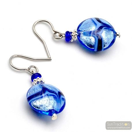 BLUE MURANO GLASS AVENTURINE EARRINGS GENUINE VENICE GLASS