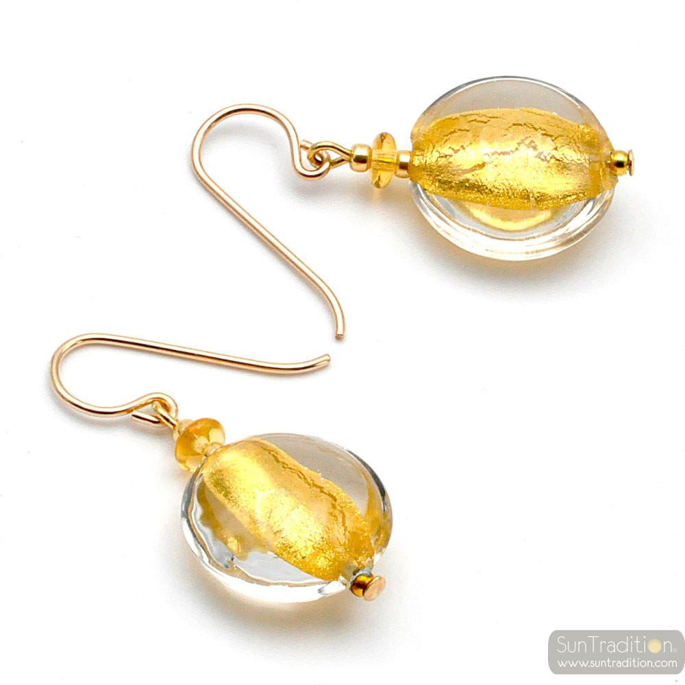PASTIGLIA ACID PICCOLI GOLD - TRANSPARENT GOLD MURANO GLASS EARRINGS
