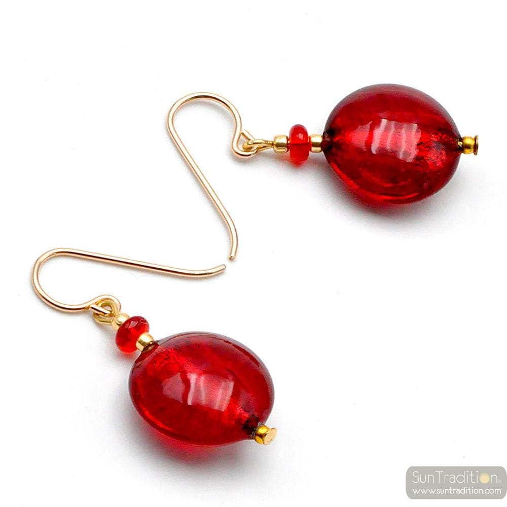 PASTIGLIA ACIDO PICCOLI RED - RED MURANO GLASS EARRINGS GENUINE VENICE MURANO GLASS