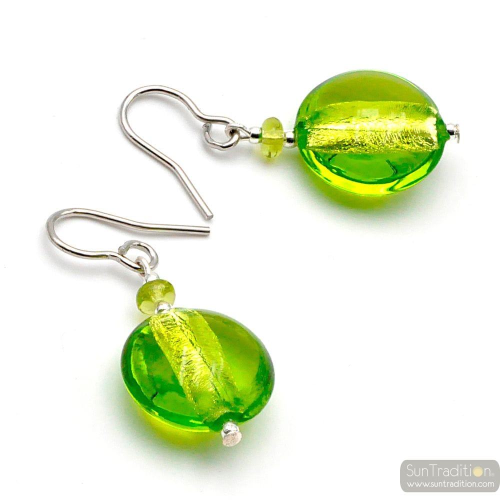 APPLE GREEN MURANO GLASS EARRINGS