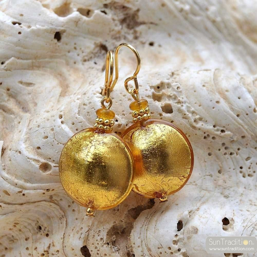 PASTIGLIA YELLOW GOLD EARRINGS GENUINE VENICE MURANO GLASS