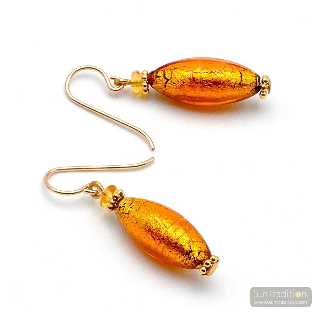 oorbellen van MURANO-GLAS AMBER