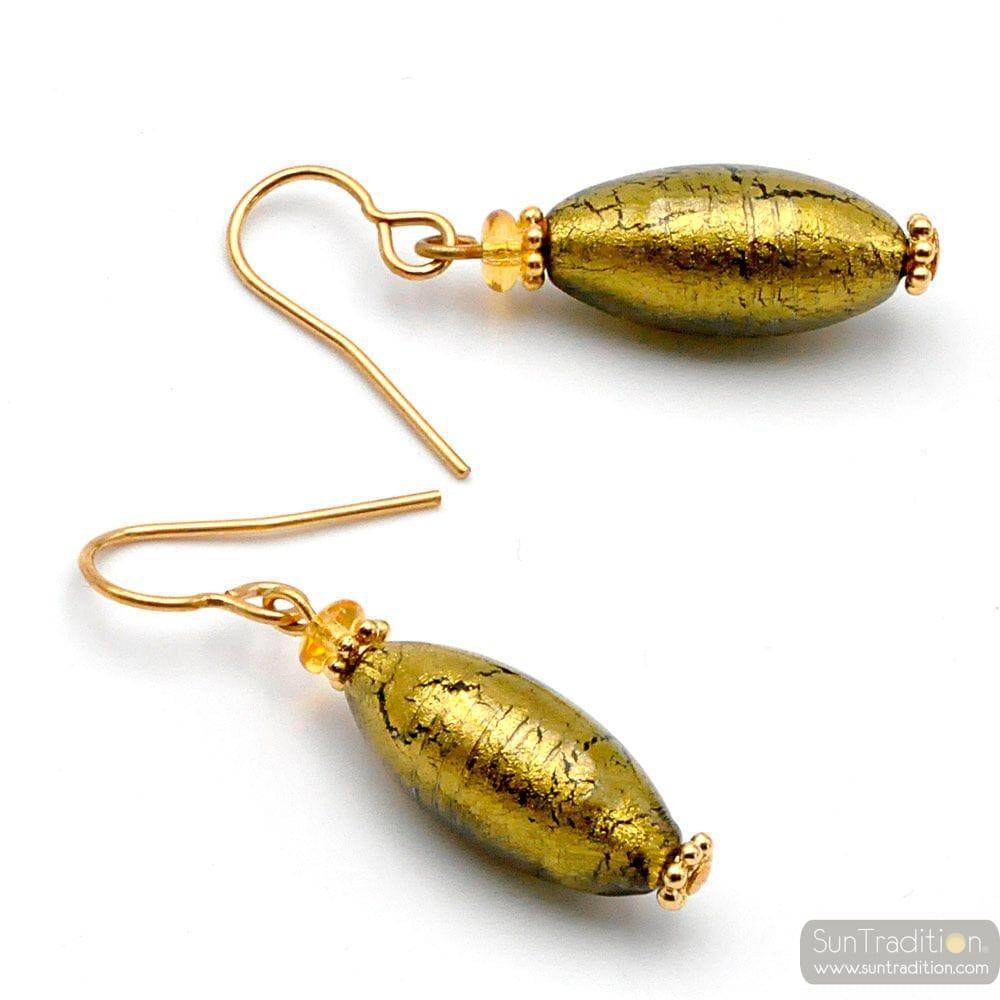OLIVER GOLD GRAU - OHRRINGE GOLD GRAU AUS MURANOGLAS AUS VENEDIG