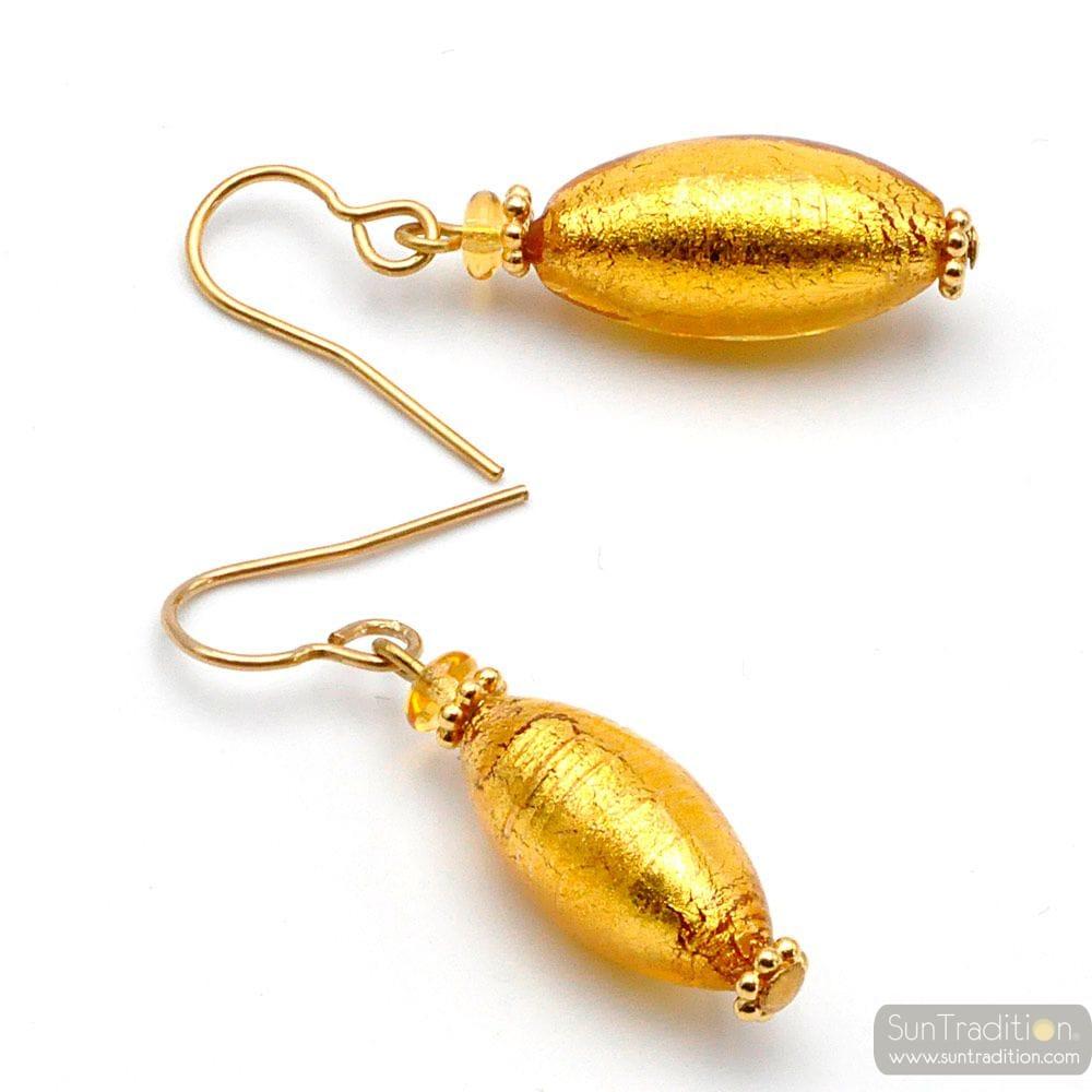 OLIVER GOLD - OHRRINGE GOLD AUS MURANOGLAS AUS VENEDIG